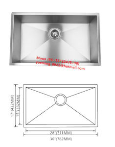 Stainless Steel Handmade Sink, Undermount Single Large Bowl Kitchen Basin Hmss3017 pictures & photos