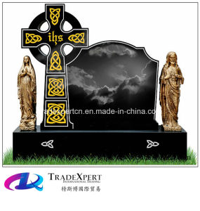 Ireland Style Shanxi Black Cross Design Granite Tombstone