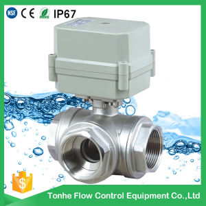 DC12V 3 Three Way Electric Motorized Ball Valve Stainless Steel 304 for Water Treatment pictures & photos