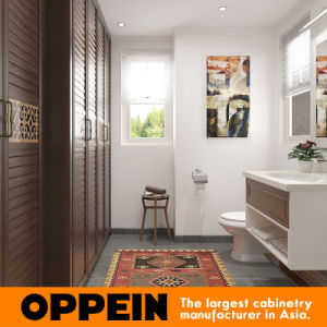 Oppein White Lacquer Wooden Bathroom Vanity Cabinet with Basin (OP16-HS02BV1) pictures & photos