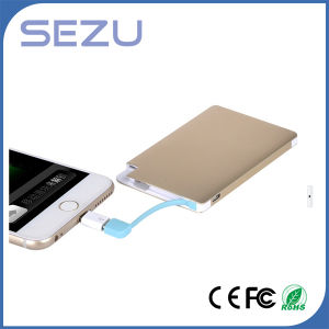 2500mAh Aluminum Metal Ultra Thin Card Power Bank pictures & photos