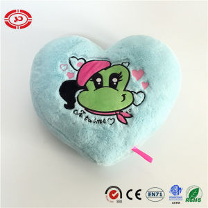 Valentines Frog Embroidered Blue Stuffed Heart Shape Pillow pictures & photos