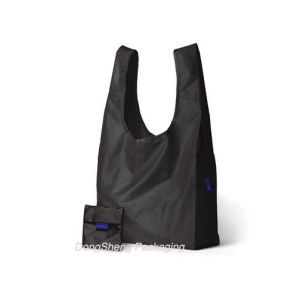 Black Nylon Fabric T-Shirt Shape Shopping Bag with Small Pouch