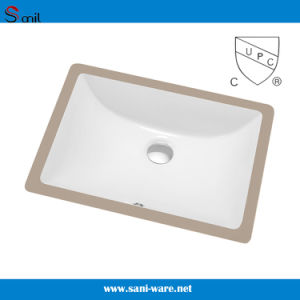 Sanitary Ware Rectangular Undermount Ceramic Kitchen Basin (SN018) pictures & photos