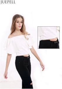 European and American Women′s Summer Halter Short Paragraph Sexy Strapless Flounced Collar Neck Short Sleeve T-Shirt Blouse pictures & photos