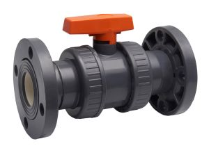 PVC Double Union Ball Valve for Pharmacy with ISO9001 (NPT / BSPT Standard) pictures & photos