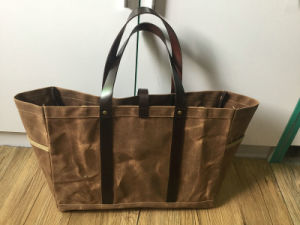 OEM Customized Vintage Waxed Canvas Tote Bag with Leather Handles pictures & photos