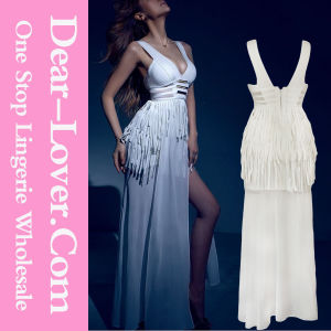 Tassel Hardware Decor High Slit White Bandage Wedding Gowns pictures & photos