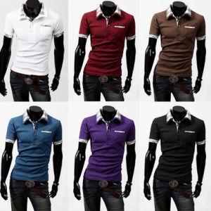 2017 Men Fashion Checked Collar Neck Polo T-Shirt with Pocket pictures & photos