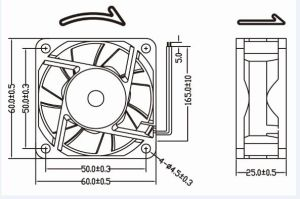 12V 24V IP68 Waterproof DC Fan 60X60X25mm pictures & photos
