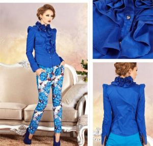 Women′s Long Sleeve Temperament Stand Collar Button Blouse pictures & photos