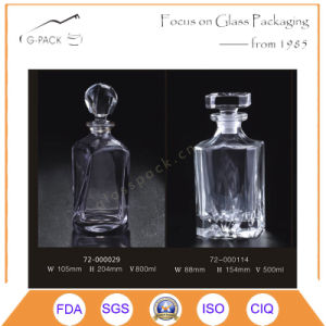 500ml Crystal Glass Vodka Bottle, Whisky Bottle in Square Shape pictures & photos