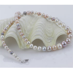 3-9mm Near Round Graduated Simple Fancy Multicolor Pearl Necklace pictures & photos