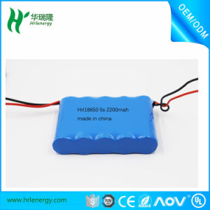 Li-ion Battery Pack 5s 18V 18650 2200mAh Rechargeable Lithium Ion Battery Pack pictures & photos