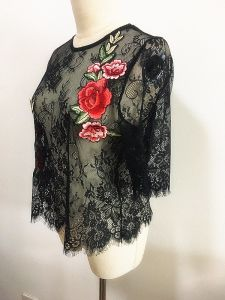 Fashion Clothes Black Lace Woman Embroidery Tee Shirt pictures & photos