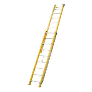 35kv Yellow 4m Fiberglass Single-Side Grooved Rail Extension Ladder pictures & photos