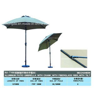 Outdoor Aluminum Foldable Parasol with Crank (YSBEA0004) pictures & photos