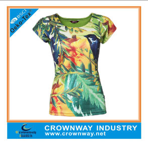 Custom Women Running Sports T-Shirt with Sublimation Printing pictures & photos