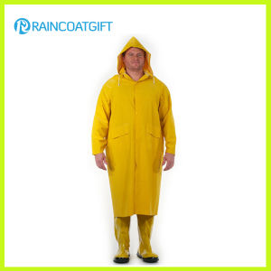 PVC/Polyester Long Yellow Raincoat with Detachable Hood pictures & photos