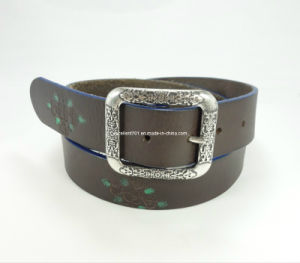 Flowered-Embossed Leather Waist Belt (EUBL0814-40)
