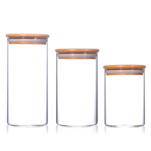 Glass Canister Set with Bamboo Lid pictures & photos