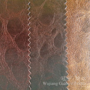 Decorative Sofa Fabric 100% Polyester Bronzing Printed Leather for Furniture pictures & photos
