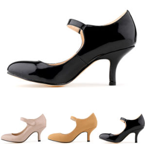 Lady Women Shoes MID Heels Patent Leather Faux Suede