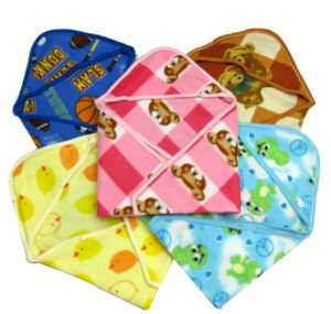 Baby Soft Hand-Double Face Animal Baby Blanket Hat Flannel Knit Edge pictures & photos