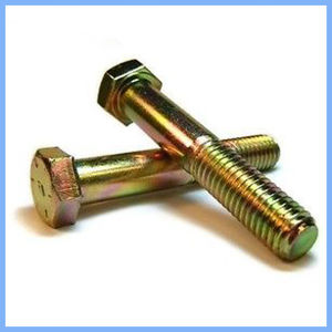 DIN931 Half Thread Yellow Plated Hex Bolt pictures & photos