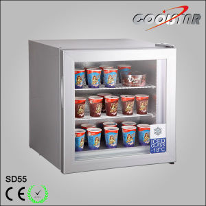 Mini Ice Cream Freezer with Heating Film Glass Door pictures & photos
