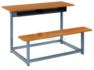 Simple School Classroom Wooden Student Double Desk and Bench pictures & photos