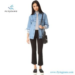 Long Denim Women Jacket with Embroidered Flamingo Graphic pictures & photos