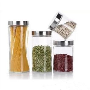 Glass Food Storage Jar Candy Jar with Stainless Steel Lid