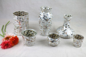 Glass Crafts Mirror and Seashell Mosaic Glass Vase for Wedding Gift