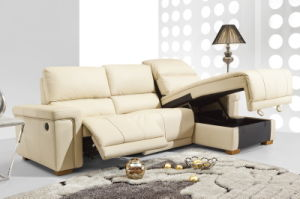 Storage Chaise Lounge Leather Sofa (611) pictures & photos