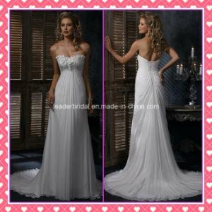 Elegant Bridal Gowns Chiffon Court Train Applique Wedding Dresses Z8054 pictures & photos