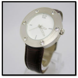 Brown Leather Watch for Men Stainless Steel Case and Back pictures & photos