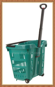 40L Superior Colored Plastic Trolley Shopping Cart for Supermarket pictures & photos