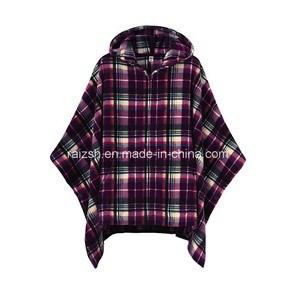 Clothing Polar Fleece Poncho with Cap Printed Checks Design TV Blanket pictures & photos