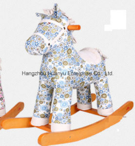 Factory Supply Wooden Rocking Horse-Horse Rocker with Blue Flower pictures & photos