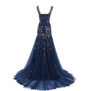 Navy Blue Bridal Evening Gowns Beaded V-Neckline Prom Party Dresses Z213 pictures & photos