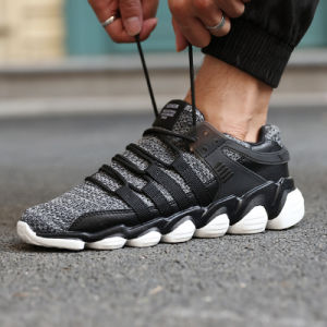 Fast Selling Men′s Big Size 46 Sports Shoes PU Breathable Non-Slip Soft Bottom Knitting Men′s Running Shoes pictures & photos