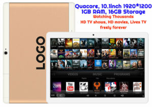 Custom Made Android Tablet TV Watching Thousands of HD Movies and HD TV Shows Mtk Quadcore 1GB 16GB 10.1inch HD WiFi Bluetooth GPS pictures & photos