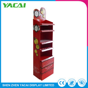 Custom Cosmetic Paper Folded Security Floor Cardboard Display Stand pictures & photos