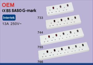 Saso Ce G-Mark UK 13A 6-Gang Indoor Power Socket with 1m 2m 3m 5m pictures & photos