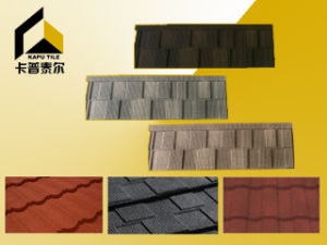 Stone Coated Metal Roofing Tiles, Shingle, 1320*420*0.42mm, Multicolors