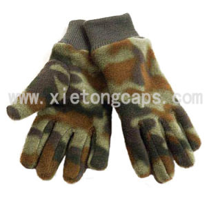 Camouflage Fleece Glove with Knitted Wrist(JRG020) pictures & photos