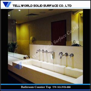 Popular Acrylic Solid Surface Wall Mount Artificial Stone Wash Basin pictures & photos