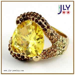 Wholesale Alloy Gold Plating Topaz Zircon Crystal Stones Fashion Jewelry Ring pictures & photos