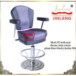Casino Chair Jl352 (ARDEN 504) Leather and Fabric Chrome Footrest with Armrest